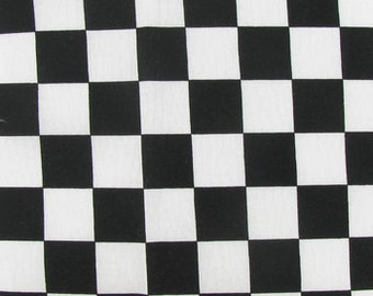 """CHECKERED FLAG FABRIC -  2 Sizes Racing checks, yardage Fabric, half or full yards, car,  white and black checkerboard print cotton 45"""" wide"""