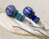 Glass Beaded Earrings - Hypoallergenic Earrings - Pure Titanium Earrings - Blue Earrings - Hypoallergenic Dangle Earrings - Ultramarine Blue