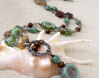 Beaded Necklace - Statement Necklace - Gift for Friend - Boho Necklace - Turquoise Necklace - Bohemian Style Necklace - Gift for Her