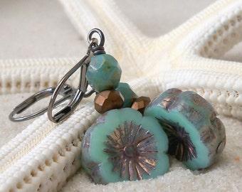 Floral Earrings - Bead Jewelry - Bead Earrings - Boho Earrings - Boho Chic Jewelry - Gift for Mom - Turquoise Earrings - Womens Jewelry