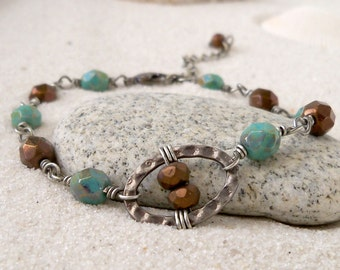 Glass Bead Jewelry - Glass Bead Bracelet - Boho Bracelet - Turquoise and Bronze Bracelet - Tropical Jewelry - Summer Bracelet - Bohemian