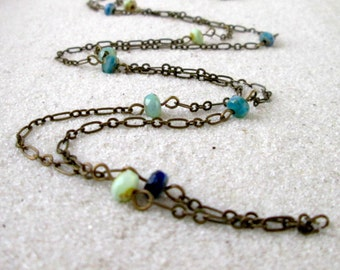 Gift Idea - Long Necklace - Layering Necklace - Handmade Necklace - Boho Jewelry - Long Chain Necklace - Gift for Her - Blue and Teal Series