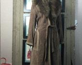 1970s suede coat 70s bohemian coat size medium cocoa brown leather vintage coat