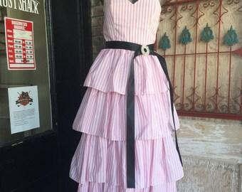 Fall sale 1980s pink dress pin striped dress 80s strapless dress party dress size small Vintage prom dress