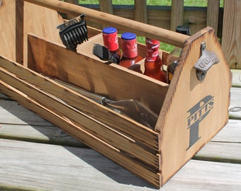 Wooden GRILL Tote Personalized grilling tools  holder Wood  CHRISTMAS Beer Condiments Caddy Birthday Anniversary Groomsmen Gift Groom