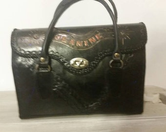 Black Jeanine Leather Barrel Purse Handtooled Vintage
