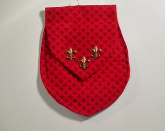 Red cloth Belt pouch or purse for medieval/ renassaince re enactors