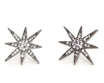 White Topaz Star Studs/Topaz Pave/Silver Studs/Starburst Studs/Gift Ideas/Dainty Jewelry