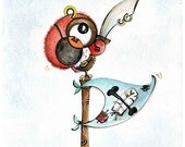 pirate owl ( Print ) pirate theme, whimsical, red, gift for boy