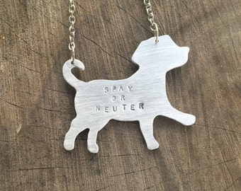 Mutt Necklace-Spay or Neuter Puppy-Dog Lover-Labrador Retriever-Rescue Pet-Vegan Gift-Customizable-Mixed Breed-Eco Friendly