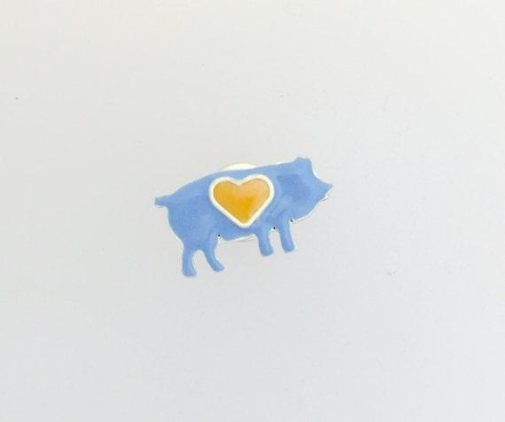 Pig Lapel pins-blue pig lapel pin-vegan lapel pin- vegan gift- vegan pins-gift- birthday-Valentine's Day- vegan jewelry-unisex
