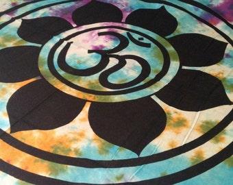 Boho Hippie Tapestry Fabric - OM Lotus Flower Yoga Tie Dye