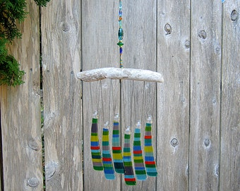 Multicolor Wind Chime, Glass Windchime, Glass Chimes, Festive Colors