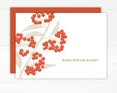 SALE 50% OFF - Christmas Card - BERRIES Holiday Card Set of 8