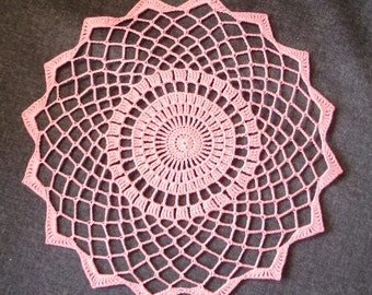 """New Handmade Crocheted """"Elegance-Small"""" Doily in Coral - 10"""""""
