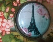 Crystal Glass Dome Button French Paris Eiffel Tower Pink Blossoms