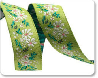 "BONNIE CHRISTINE 5/8"" ribbon--White on Green Daisy Garland, by the yard"