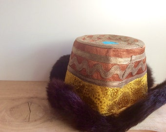 Tibetan Hat. Xamo Gyaise Four Flap Hat. Gold Braid Thread, Silk, Yellow Brocade, Fur, Felt, Flannel. Vintage Bohemian Fashion Accessories.