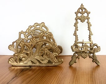 Brass Picture Stand and Letter Holder. Fancy Scrollwork Brass. Art Nouveau / Rococo Style. Gold Decor. Easel Stand, Desktop, Table Top.