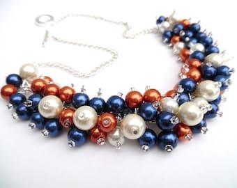 Pearl Beaded Necklace, Burnt Orange Navy Ivory Bridesmaid Necklace, Navy Necklace, Cluster Necklace, Bridesmaid Gift, Custom Wedding Theme