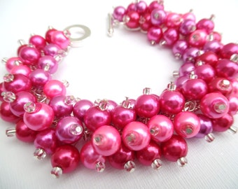 Pink Beaded Bracelet, Hot Pink Bridesmaid Jewelry, Pink Wedding, Pearl Cluster Bracelet, Bright Pink, Fuchsia Pink Pearl Jewelry, Chunky