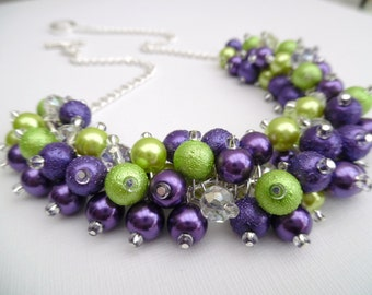 Purple and Lime Green Pearl Beaded Necklace, Bridesmaid Jewelry, Cluster Necklace, Bridesmaid Gift, Custom Colours, Purple Pearls
