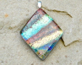 Dichroic Glass Pendant Iridescent Mixture of Colours Soft Brown Yellow Gold Turquoise Diamond Small Silver Plated Bail Fitting - Gift Boxed