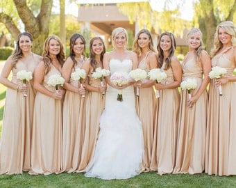 Upscale Infinity Dresses (compare to twobirds) any bridesmaids size/length blush dusty pink rosegold khaki nude sage gold rose metalic glam