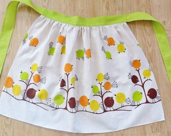 chubby round birds, vintage apron