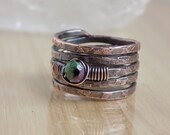 Ruby Zoisite Copper Ring Band Stamped Hammered Wire Wrapped in Oxidized Copper Wire Size 6 1/2 Wire Wrapped Jewelry Handmade