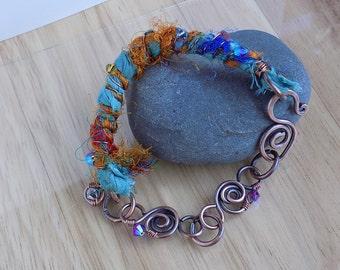 Copper Boho Bracelet Gypsy Sari Silk Ribbon Oxidized Swarovski Bracelet Wire Wrapped Jewelry Handmade Boho Fantasy Cosplay Gypsy Bracelet