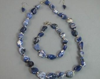 Womens Necklace, Bracelet, Earrings, Ensemble, gemstone necklace, Sodalite and Sterling necklace, Beaded bracelet, gemstone earrings