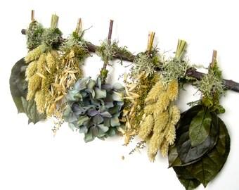 Green Tan Blue Hydrangea and Lemon Leaf Dried Flower Swag Sampler