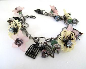 Vintage Bead Bracelet, Charm Bracelet, Romantic Bracelet, Cherry Blossoms, Birdcage, Flower Bracelet, Victorian Jewelry, Shabby Chic, Artist