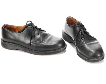 Dr Martens Grunge Shoes 90s Black Leather Men Minimal Style Shoes Doc Martens Normcore Wide Fit Hipster 3 Eyelet Men US 8.5, Eur 42, UK 8