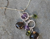 Gemstone Pendant, Peridot, Amethyst, Smoky Quartz Cascade Necklace, Sterling Silver Chain Necklace