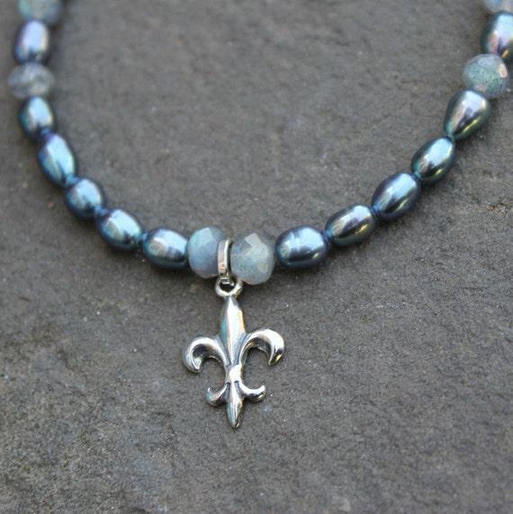 Fleur De Lis Charm Bracelet: Pearl Charm Bracelet Fleur De Lis Jewelry By