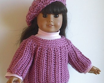 18 Inch Doll Clothes: Crocheted Ribbed Sweater and Beret in Plum Rose made to fit the American Girl and Other Similar Dolls