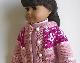 18 Inch Doll Clothes Knit Fair Isle Sweater Light Pink and Raspberry with White Snowflakes at Yoke Handmade to fit the American Girl Doll