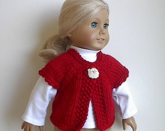 RESERVED FOR DONNA - 18 Inch Doll Clothes Sweater Vest in Red Handknit to fit the American Girl and Similar Dolls