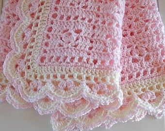 Baby Afghan Blanket Crocheted Pink with Ivory Trim Blanket Baby Blanket Newborn Afghan Baby Photo Prop Reborn Doll Item - Ready to Ship