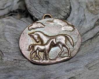 Bronze Mare and Foal Pendant