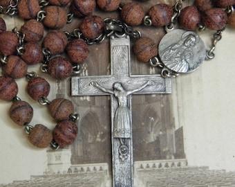Vintage Rosary Rosewood Beads Metal Woodgrain Cross