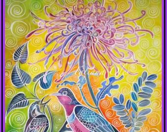 original watercolor ''Conversation'' by Tatiana Oles / Home decor / nursery room decor /birds / flowers
