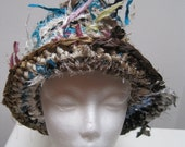 "crochet hat, tan blue hat, striped hat, brimmed hat, fabric scrap hat, sari ribbon hat, fall hat, spring hat ""luster"""