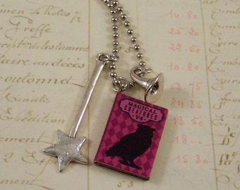 Witch or Wizard Necklace - Magic Charm Necklace - Magic Wand & Witches Hat - Spell Book Necklace - Magical Wizard School Necklace
