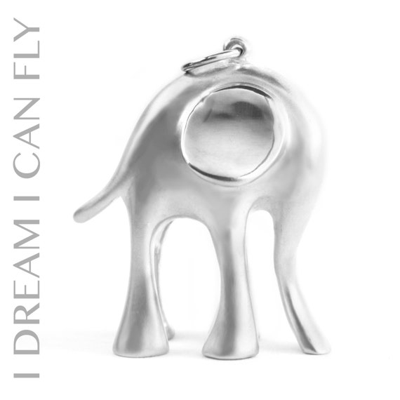 Elephant necklace in brushed sterling silver