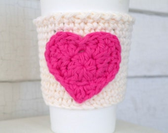 Pink Heart on Cream Coffee Takeout Cup Sleeve Cozy