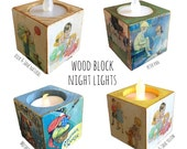Whimsical Wooden Block Night Lights Mother Goose, Peter Pan, Dick and Jane