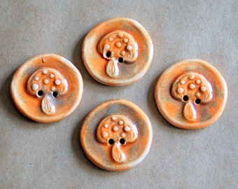 4 Handmade Ceramic Buttons - Large Mushroom Buttons in Light and Bright Autumn Orange - Woodland Supplies for Hand Knits or Button Bracelets